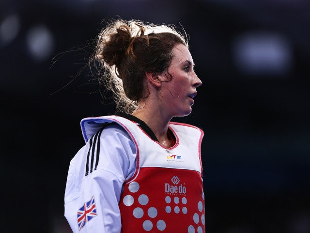 Great Britain's taekwondo Olympic gold medallist Jade Jones looks on after beating Despina Pilavaki of Cyprus in the preliminary rounds of the women's -57kg at the European Games in Baku