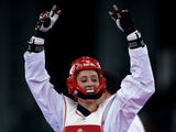 Jade Jones celebrates after winning gold at the 2015 European Games in Baku on June 17, 2015