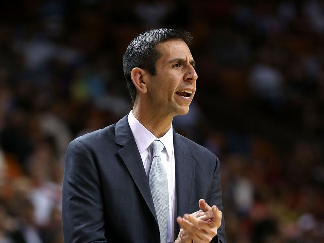 Head coach James Borrego of the Orlando Magic looks on during a game against the Miami Heat at American Airlines Arena on April 13, 2015