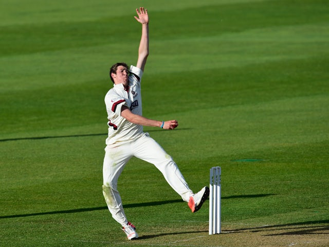 Somerset bowler Jamie Overton in action during day two of the Division One LV County Championship match between Somerset and Middlesex at The County Ground on April 27, 2015