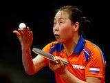 Jiao Li of the Netherlands competes against Lie Li of the Netherlands in the Women's Table Tennis Finals during day seven of the Baku 2015 European Games at the Baku Sports Hall on June 19, 2015