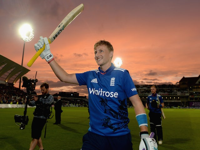 Joe Root of England celebrates winning the 4th ODI Royal London One-Day match between England and New Zealand at Trent Bridge on June 17, 2015