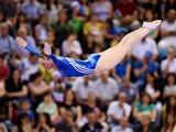 Katherine Driscoll of Great Britain competes in the trampoline event at the Baku European Games on June 17, 2015