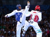Lutalo Muhammad of Team GB in action during his quarter-final defeat at the hands of Azerbaijan's Milad Beigi Harchegani at the European Games in Baku on June 18, 2015