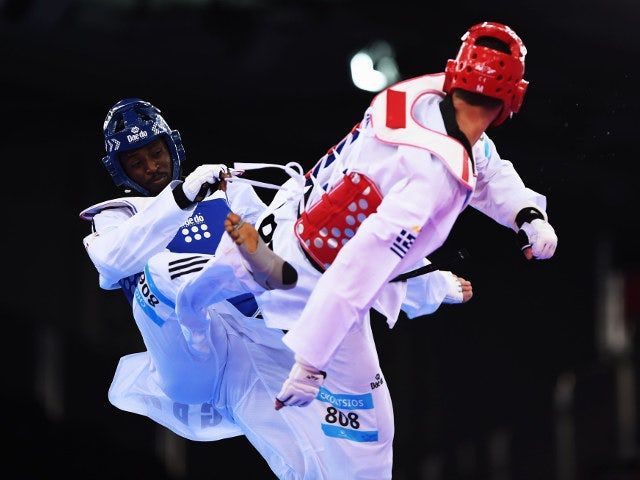 Mahama Cho of Team GB in action during his preliminary defeat to Greece's Konstantinos Gkoltsios at the European Games in Baku on June 19, 2015