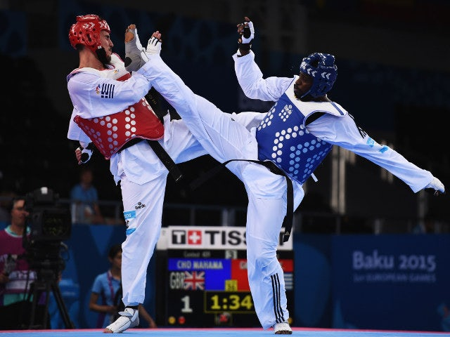 Great Britain's Mahama Cho in action during his preliminary bout at the European Games in Baku on June 19, 2015