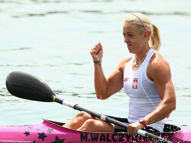 Marta Walczykiewicz of Poland celebrates after winning in the Kayak Single (K1) 200m Women during day four of the Baku 2015 European Games at Mingachevir on June 16, 2015