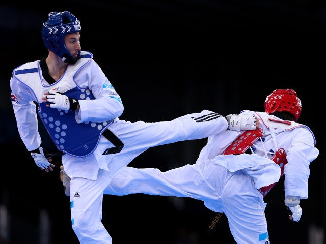 Great Britain's Martin Stamper in action during his preliminary taekwondo bout against Filip Grgic at the 2015 European Games in Baku