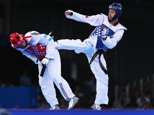 Martin Stamper of Team GB during his quarter-final defeat at the hands of Russia's Alexey Denisenko at the European Games in Baku