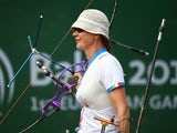 Natalia Valeeva of Italy competes in the Women's Archery Team final during day six of the Baku 2015 European Games at Tofiq Bahramov Stadium on June 18, 2015