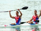 Nebojsa Grujic and Marko Novakovic of Serbia celebrate after winning in the Kayak Double (K2) 200m Men during day four of the Baku 2015 European Games at Mingachevir on June 16, 2015