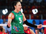 Odina Bayramova #5 of Azerbaijan celebrates a point in the Women's Volleyball Preliminary Round match against Romania during day one of the Baku 2015 European Games at Crystal Hall on June 13, 2015