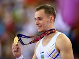 Gold medalist Oleg Verniaiev of Ukraine poses on the podium during the medal ceremony for the the Men's Vault final on day eight of the Baku 2015 European Games at the National Gymnastics Arena on June 20, 2015