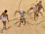 Russia's team performs in the group all-around final of the rhythmic gymnastics event at the 2015 European Games in Baku on June 17, 2015