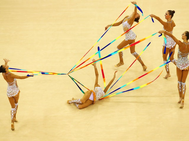Russia compete during the Rhythmic Gymnastics Group Ribbon final on day nine of the Baku 2015 European Games at the National Gymnastics Arena on June 21, 2015