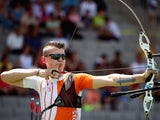 Sjef Van Den Berg competes in the Men's Team Archery quarter finals against Russia during day six of the Baku 2015 European Games at Tofiq Bahramov Stadium on June 18, 2015