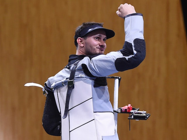Gold medalist Valerian Sauveplane of France celebrates victory in the Men's Shooting 50m Rifle 3 Positions final on day nine of the Baku 2015 European Games at the Baku Shooting Centre on June 21, 2015