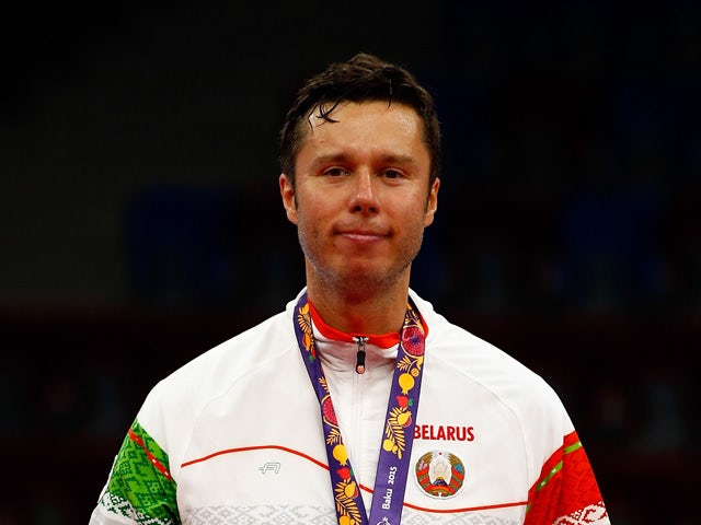 Silver medalist Vladimir Samsonov of Belarus stands on the podium after the Men's Table Tennis Finals during day seven of the Baku 2015 European Games at the Baku Sports Hall on June 19, 2015