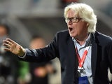 Jamaica's head coach Winfried Schäfer gestures during their 2015 Copa America football championship match against Paraguay, in Antofagasta, Chile, on June 16, 2015