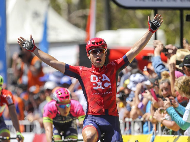 Wouter Wippert of the Netherlands reacts as he wins stage six of the 2015 Tour Down Under cycling competition in Adelaide on January 25, 2015
