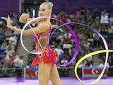 Russian's Yana Kudryavtseva competes in the women's gymnastic rhythmic individual apparatus final at the 2015 European Games in Baku on June 21, 2015