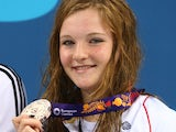 Team GB swimmer Abbie Wood poses with her silver medal earned in the women's 200m IM at the European Games on June 27, 2015