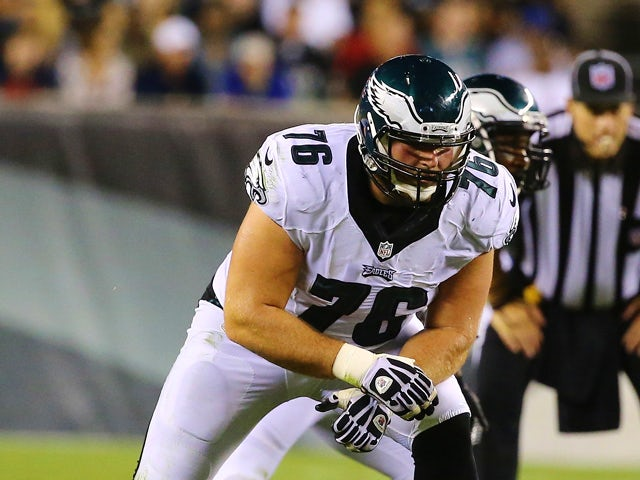 Allen Barbre #76 of the Philadelphia Eagles in action against the Pittsburgh Steelers during their Pre Season game at Lincoln Financial Field on August 21, 2014
