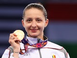 Gold medalist Ana Maria Branza of Romania poses on the podium during the medal ceremony for the Women's Fencing Individual Epee on day eleven of the Baku 2015 European Games at the Crystal Hall on June 23, 2015