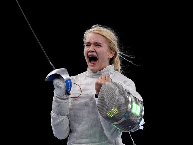 Angelika Wator of Poland celebrates victory over Sevinc Bunyatova of Azerbaijan in the Women's Fencing Individual Sabre Semi Final during day thirteen of the Baku 2015 European Games at the Crystal Hall on June 25, 2015