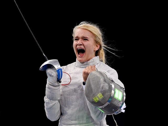 Angelika Wator of Poland celebrates victory over Sevinc Bunyatova of Azerbaijan in the Women's Fencing Individual Sabre Semi Final during day thirteen of the Baku 2015 European Games at the Crystal Hall on June 25, 2015