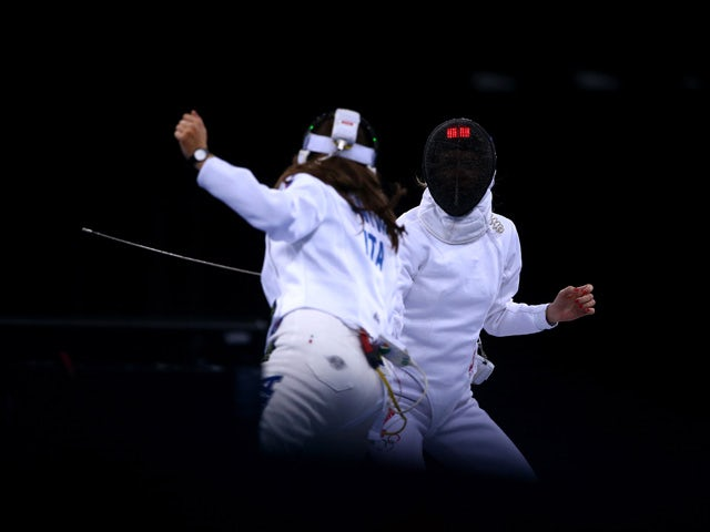 Camilla Batini of Italy (L) and Anna Sivkova of Russia compete in the Women's Fencing Team Epee Bronze Final during day fourteen of the Baku 2015 European Games at Crystal Hall on June 26, 2015