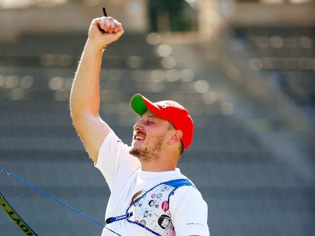 Anton Prilepov of Belarus celebrates winning the bronze medal in the Men's Individual finals during day ten of the Baku 2015 European Games at the Tofiq Bahramov Stadium on June 22, 2015