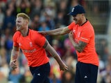 Ben Stokes of England celebrates after taking a wicket during the NatWest International Twenty20 match between England and New Zealand at Old Trafford on June 23, 2015