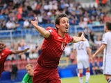 Bernardo Silva of Portugal celebrates scoring during the UEFA Under 21 European Championship 2015 semi final football match between Portugal and Germany in Olomouc, Czech Republic on June 27, 2015