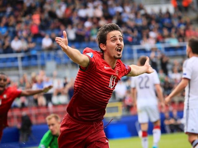 Bernardo Silva of Portugal celebrates scoring during the UEFA Under 21 European Championship 2015 semi final football match between Portugal and Germany in Olomouc, Czech Republic on June 27, 2015