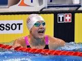 Caroline Pilhatsch of Austria celebrates winning gold in the Women's 50m Backstroke final during day thirteen of the Baku 2015 European Games at the Baku Aquatics Centre on June 25, 2015
