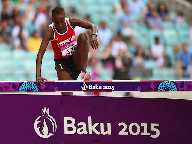 Chaltu Beji of Azerbaiajn clears the water jump during the Women's 3000 metres steeplechase on day nine of the Baku 2015 European Games at the Olympic Stadium on June 21, 2015