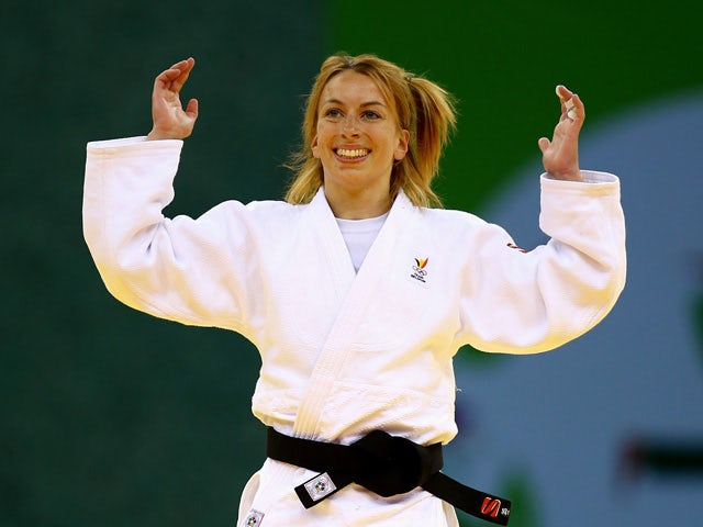 Charline van Snick of Belgium celebrates victory over Ebru Sahin of Turkey in the Women's Judo -48kg Final during day thirteen of the Baku 2015 European Games at the Heydar Aliyev Arena on June 25, 2015