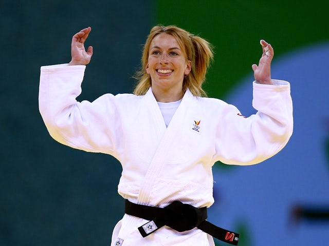 Charline van Snick of Belgium celebrates victory over Ebru Sahin of Turkey in the Women's Judo -48kg Final during day thirteen of the Baku 2015 European Games at the Heydar Aliyev Arena on June 25, 2015