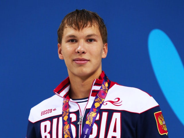 Silver medalist Ernest Maksumov of Russia stands on the podium during the medal ceremony for the Men's 1500m Freestyle fastest heat final during day twelve of the Baku 2015 European Games at the Baku Aquatics Centre on June 24, 2015