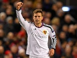 Fabian Frei of FC Basel celebrates after scoring the opening goal during the UEFA Champions League group B match between Liverpool and FC Basel 1893 at Anfield on December 9, 2014
