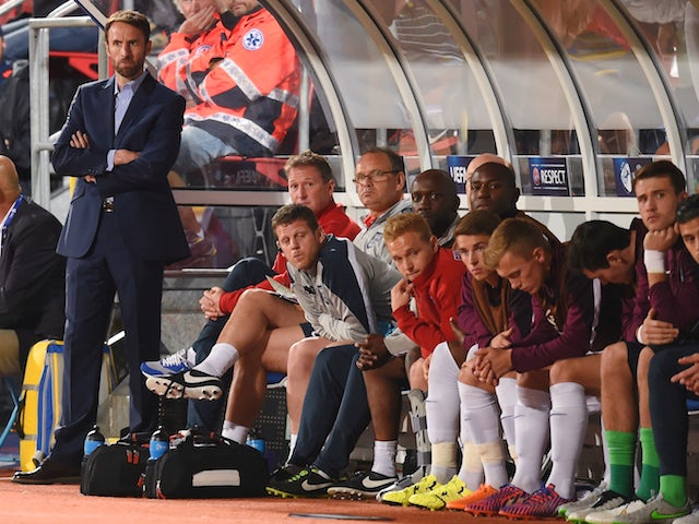 England manager Gareth Southgate looks on during the UEFA Under21 European Championship match between England and Italy at Andruv Stadium on June 24, 2015