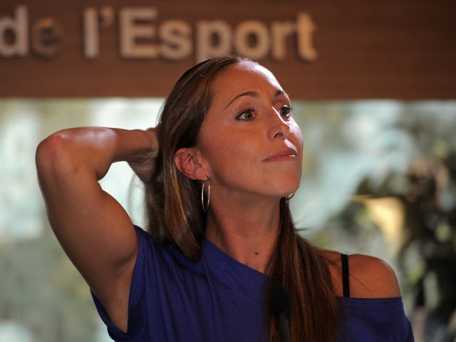 Spanish synchronized swimmer and Olympic Medallist Gemma Mengual gives a press conference to announce her retirement rom the sport on February 15, 2012