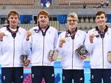 Team GB's men's 4x200m relay team pose with their silver medals at the European Games on June 25, 2015