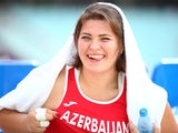 Hanna Skydan of Azerbaijan smiles during the Women's Hammer Throw on day ten of the Baku 2015 European Games at the Olympic Stadium on June 22, 2015