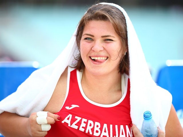 Hanna Skydan of Azerbaijan smiles during the Women's Hammer Throw on day ten of the Baku 2015 European Games at the Olympic Stadium on June 22, 2015