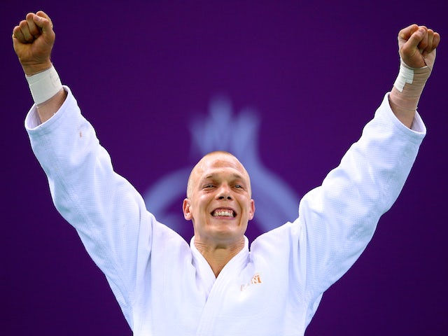 Gold medalist Henk Grol of the Netherlands stands on the podium during the medal ceremony for the Men's Judo -100kg during day fifteen of the Baku 2015 European Games at Heydar Aliyev Arena on June 27, 2015