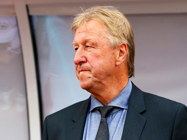 Horst Hrubesch, head coach Germany reacts before the UEFA European Under-21 semi final match Between Portugal and Germany at Ander Stadium on June 27, 2015