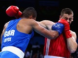 Great Britain's Joe Joyce in action against Alexei Zavatin of Moldova at the European Games in Baku on June 20, 2015