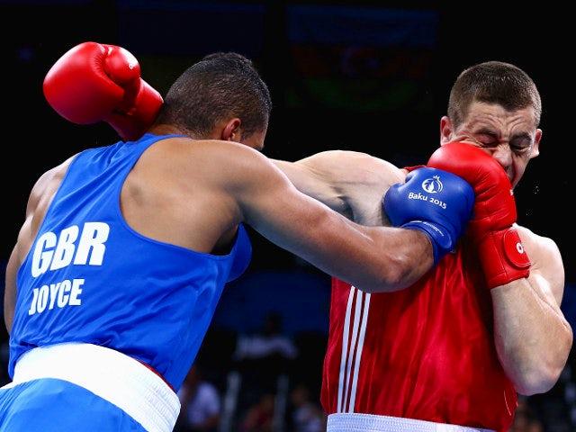 Great Britain's Joe Joyce in action against Alexei Zavatin of Moldova at the European Games in Baku on June 20, 2015